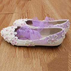 Frauen Kunstleder Niederiger Absatz Geschlossene Zehe Absatzschuhe mit Nachahmungen von Perlen Blume Zuschnüren Geflochtenes Band