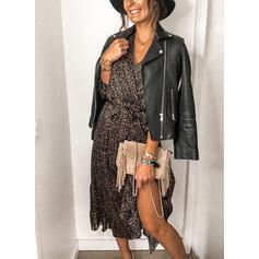 Print 3/4 Sleeves A-line Wrap/Skater Casual Midi Dresses