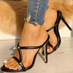 Mulheres PU Salto agulha Sandálias Peep toe Chinelos sapatos