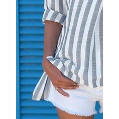 Rayado Solapa Mangas 3/4 Con Botones Casual Blusas