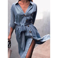 Solid 3/4 Sleeves Sheath Knee Length Casual/Elegant Dresses
