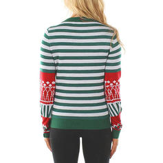 Femmes Polyester Inmprimé Patchwork Striped Chandail de Noël moche