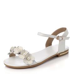 Femmes PU Talon plat Sandales Chaussures plates À bout ouvert avec Perle d'imitation Boucle chaussures