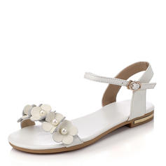 Women's PU Flat Heel Sandals Flats Peep Toe With Imitation Pearl Buckle shoes