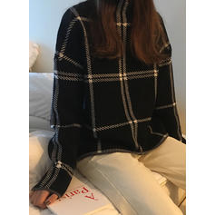 Color Block Stand Collar Sweaters