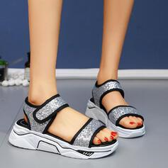 Femmes Pailletes scintillantes Talon plat Sandales À bout ouvert avec Velcro chaussures