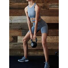 Gola Redonda Cor sólida Calções desportivos Sutiãs esportivos Yoga Sets