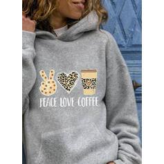Print Leopard Hjärta Långa ärmar Hoodie