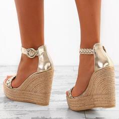 PU Plataforma Sandálias Plataforma Calços Peep toe com Outros sapatos