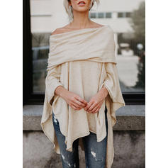 Solide Off the Shoulder Lange Mouwen Casual Bloezen met Roes