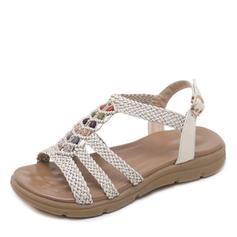 Women's Leatherette Low Heel Sandals Peep Toe Slingbacks With Rhinestone shoes