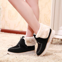 Women's Suede Flat Heel Flats Boots With Velcro shoes