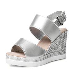 Femmes PU Talon compensé Escarpins Compensée avec Boucle chaussures