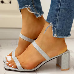 Women's PU Chunky Heel Sandals Peep Toe Slippers shoes