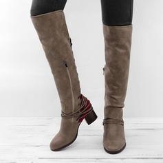 Női PU Chunky sarok Térdig érő csizmák -Val Cipzár Lace-up cipő