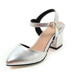 Women's Leatherette Chunky Heel Pumps Closed Toe Slingbacks Mary Jane With Buckle shoes