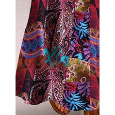 Nadrukowana Rękawy 3/4 Koktajlowa Maxi Casual Sukienki