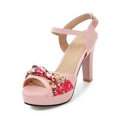 Women's Leatherette Chunky Heel Pumps Platform With Satin Flower shoes