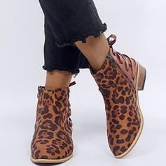 Donna PU Tacco basso Stiletto Punta chiusa Stivali Stivali alla caviglia con Cerniera scarpe