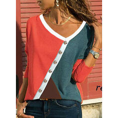 Color Block V-Neck Long Sleeves Button Up Casual Blouses