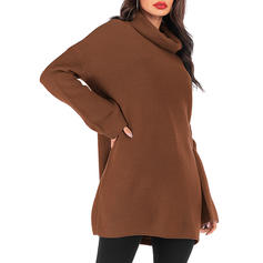Solid Ribbed Chunky knit Cowl Neck Casual Long Sweaters