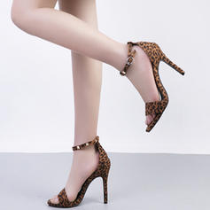 Women's Leatherette Stiletto Heel Sandals Pumps Peep Toe Slingbacks Mary Jane With Rivet Buckle shoes