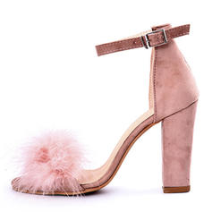 Women's Suede Stiletto Heel Sandals Pumps With Feather shoes