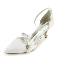 914b7f529db1 quick view Women s Lace Leatherette Spool Heel Closed Toe Pumps Sandals  With Crystal Heel Pearl