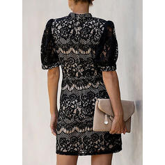Lace/Solid 1/2 Sleeves Sheath Above Knee Little Black/Casual/Elegant Dresses