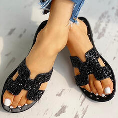 Women's PU Flat Heel Sandals Peep Toe Slippers With Sequin Rivet shoes