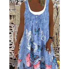 Imprimeu/Hayvan Kolsuz Shift Elbiseleri Până la Genunchi gündelik Elbiseler