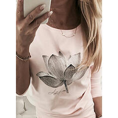 Figure Floral Print Round Neck Long Sleeves T-shirts
