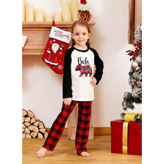 Orso Tartan Lettera Stampa Famiglia Partita Di Natale Pajamas