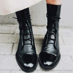 Dla kobiet PU Niski Obcas Kozaki do polowy lydki Martin Buty Z Sznurowanie obuwie