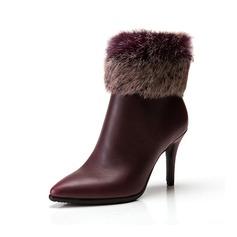 Femmes Similicuir Talon stiletto Escarpins Bottines avec Fausse Fourrure chaussures