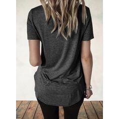 Распечатать V шеи С коротким рукавом Повседневная Блузы