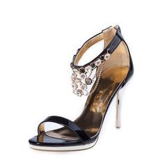 Femmes Similicuir Talon stiletto Sandales avec Strass chaussures