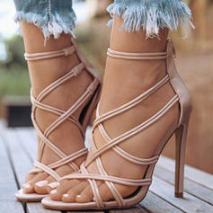 Women's PU Stiletto Heel Sandals Pumps With Braided Strap shoes