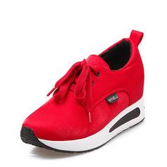 Mulheres Cetim Casual Outdoor com Aplicação de renda sapatos