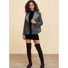 Polyester Short Sleeves Plain Woolen Coats
