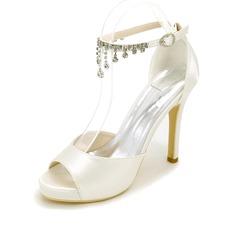 Women's Silk Like Satin Stiletto Heel Platform Pumps Sandals With Chain
