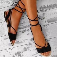 Pentru Femei PU Fară Toc Sandale cu Lace-up pantofi