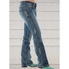 Print Shirred Plus Size Elegant Skinny Denim & Jeans