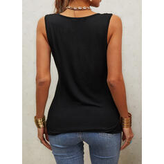 Hollow-out V-Neck Sleeveless Tank Tops
