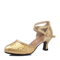 Women's Ballroom Heels Leatherette Sparkling Glitter With Hollow-out Lace-up Latin