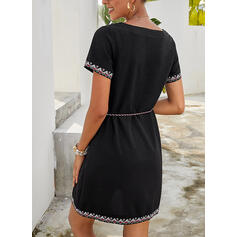 Print Short Sleeves Sheath Above Knee Casual/Vacation Dresses