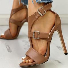 Women's PU Stiletto Heel Sandals Peep Toe With Buckle shoes