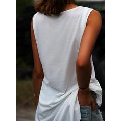 Egyszínű V-nyak Αμάνικο Μπλουζάκια