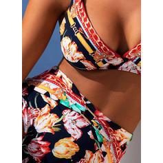 Floral Cintura Alta Impresión Correa Bohemio Bikinis Trajes de baño