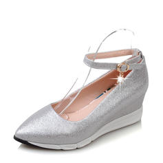 Femmes PVC Talon compensé Compensée avec Boucle chaussures